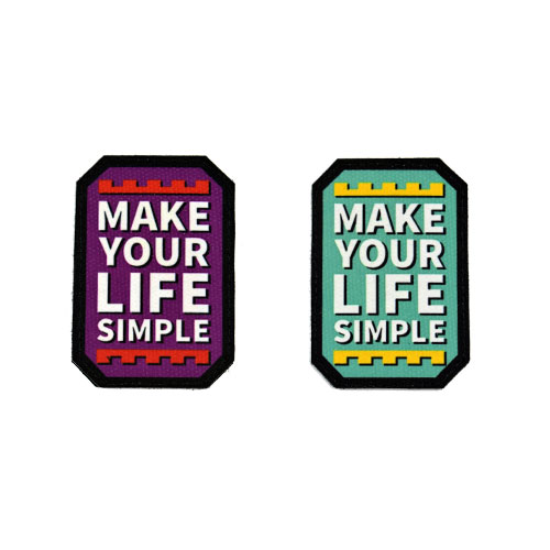 (2x) Make Your Life Simple Quote Flock Printed Fabric Loop And Hook Patches Polygon Shape