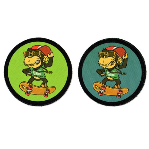 (2x) New York City Monkey Skater Cool Skateboarding Flock Printed Fabric Loop And Hook Patches Round Shape