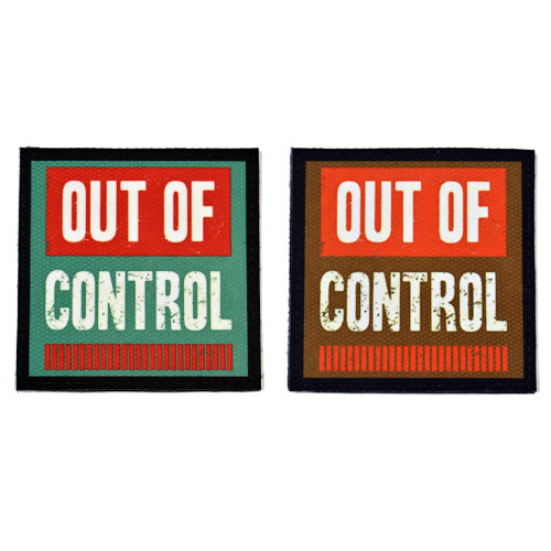 (2x) Out Of Control Flock Printed Fabric Loop And Hook Patches Square Shape