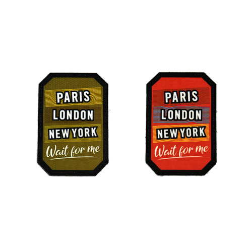(2x) Paris London New York Wait For Me Traveler Flock Printed Fabric Loop And Hook Patches Polygon Shape