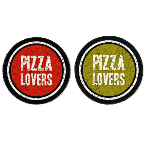 (2x) Pizza Lovers Flock Printed Fabric Loop And Hook Patches Round Shape