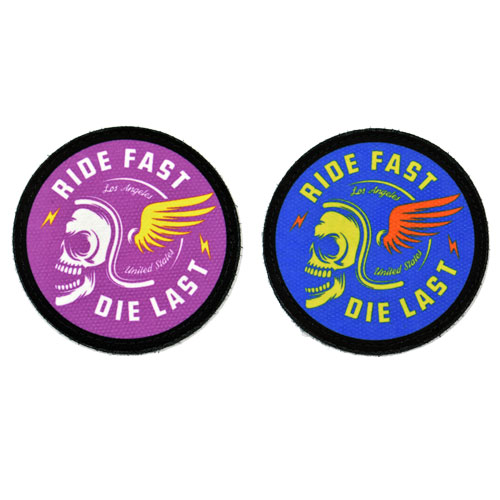(2x) Ride Fast Die Last Quote Skull Skeleton With Helmet Los Angeles United States Flock Printed Fabric Loop And Hook Patches Round Shape