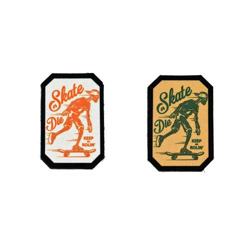 (2x) Skate Or Die Keep On Rollin' Skeleton Skateboarding Skating Skull Skater Flock Printed Fabric Loop And Hook Patches Polygon Shape
