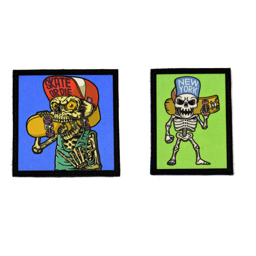 (2x) Skate Or Die New York Skull Skeleton Skateboard Skater Flock Printed Fabric Loop And Hook Patches Square Shape