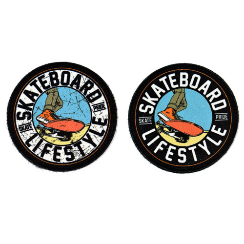 (2x) Skateboard Lifestyle Skate Pride Flock Printed Fabric Loop And Hook Patches Round Shape