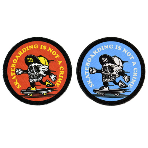 (2x) Skateboarding Is Not A Crime Skull Skating Fast With Hat Flock Printed Fabric Loop And Hook Patches Round Shape