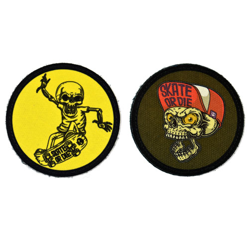 (2x) Skate Or Die Skull Skating Skeleton Skater Skateboarding Flock Printed Fabric Loop And Hook Patches Round Shape