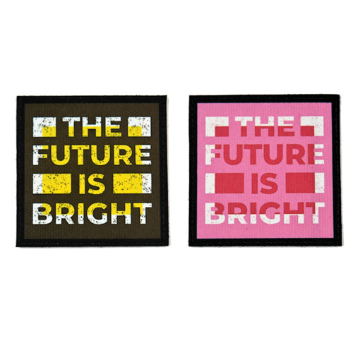 (2x) The Future Is Bright Quote Flock Printed Fabric Loop And Hook Patches Square Shape