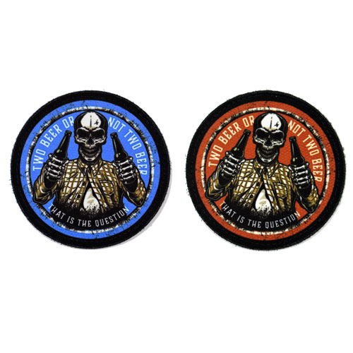 (2x) Two Beer Or Not Two Beer That Is The Question Funny Skeleton Quote Skull Flock Printed Fabric Loop And Hook Patches Round Shape