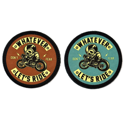 (2x) Whatever let's Ride Don't Fear Skull Skeleton Retro Style Flock Printed Fabric Loop And Hook Patches Round Shape