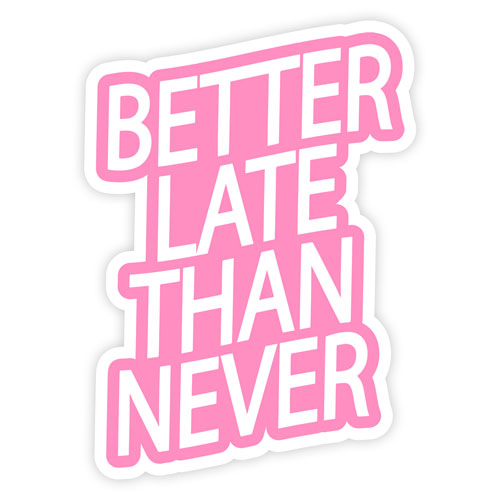 Better Late Than Never Layered Vinyl Sticker Quote Decal White & Pink
