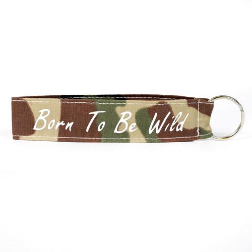 Born To Be Wild Wristlet Key Fob Fabric Keychain KeyFob Army Military Pattern