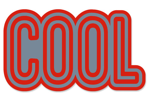 Cool Layered Vinyl Sticker Never Fade Decal Red & Grey Indoor-Outdoor Use
