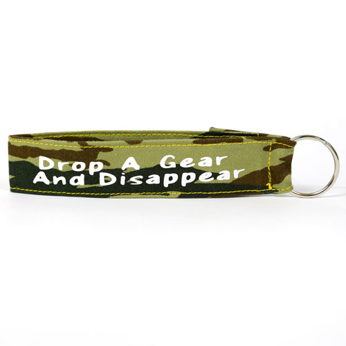Drop A Gear And Disappear Wristlet Key Fob Fabric Keychain Army Military Pattern