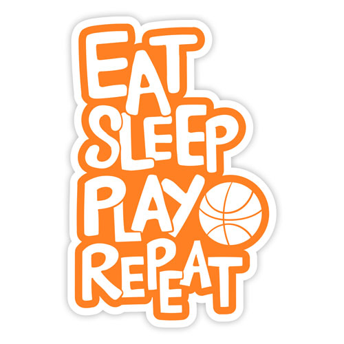 Eat Sleep Play Basketball Repeat Layered Vinyl Sticker Sports Decal