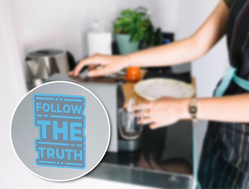 Follow The Truth Layered Vinyl Sticker Never Fade Quote Decal Blue & Grey Color