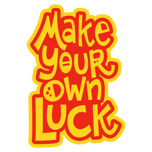 Make Your Own Luck Layered Vinyl Sticker Quote Decal Yellow & Red Color