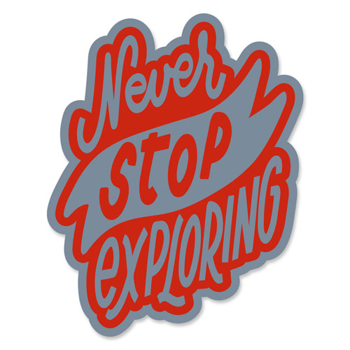 Never Stop Exploring Layered Vinyl Sticker Travel Quote Decal Grey & Red Color
