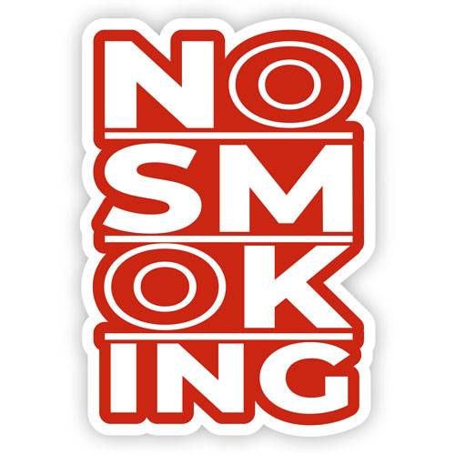 No Smoking Layered Vinyl Sticker Sign Warning Decal White & Red Color
