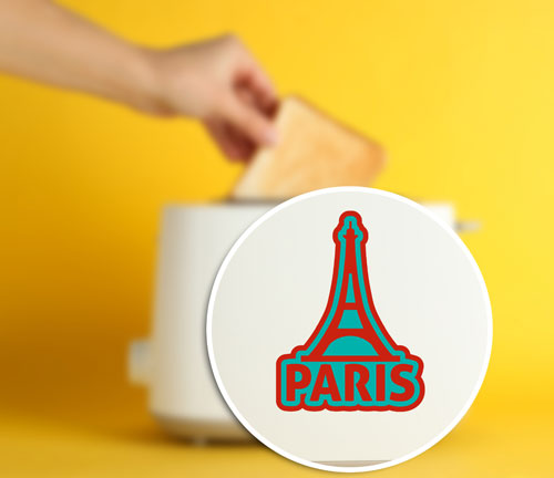 Paris Eiffel Tower France Layered Vinyl Sticker Never Fade Decal Red & Turquoise Color