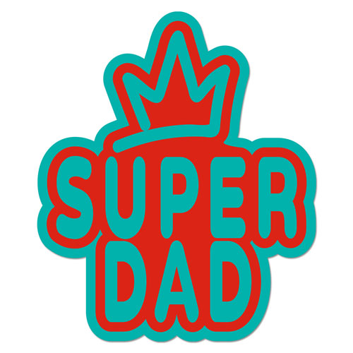 Super Dad Crown Layered Vinyl Sticker Never Fade Decal Turquoise & Red Color