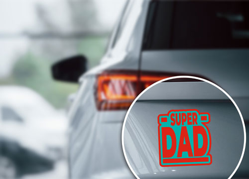 Super Dad Layered Vinyl Sticker Never Fade Decal Red & Turquoise Color