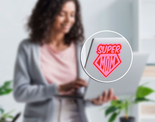 Super Mom Layered Vinyl Sticker Never Fade Mother Family Decal Pink & Red Color