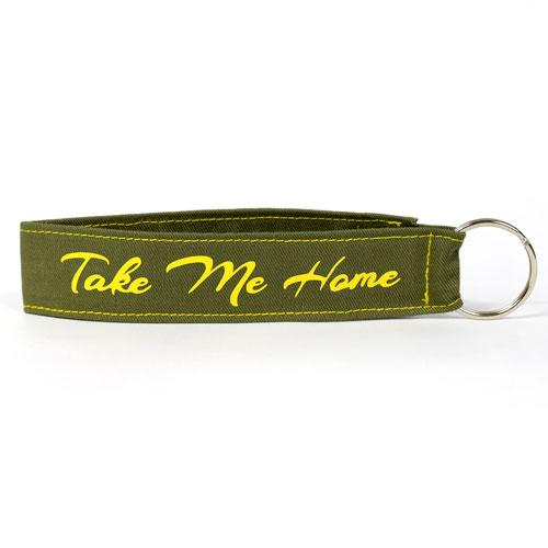 Take Me Home Wristlet Key Fob Fabric Keychain Cloth KeyFob Khaki & Yellow Color