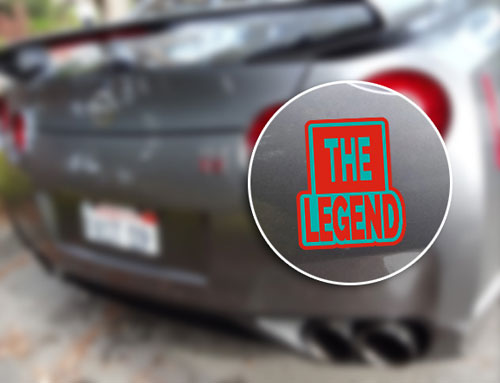 The Legend Layered Vinyl Sticker Never Fade Decal Red and Turquoise Color