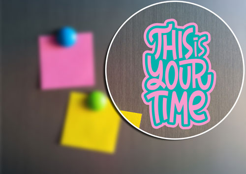 This Is Your Time Layered Vinyl Sticker Quote Decal Never Fade Turquoise & Pink Color