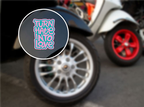 Turn Hate Into Love Layered Vinyl Sticker Heart Quote Decal Never Fade