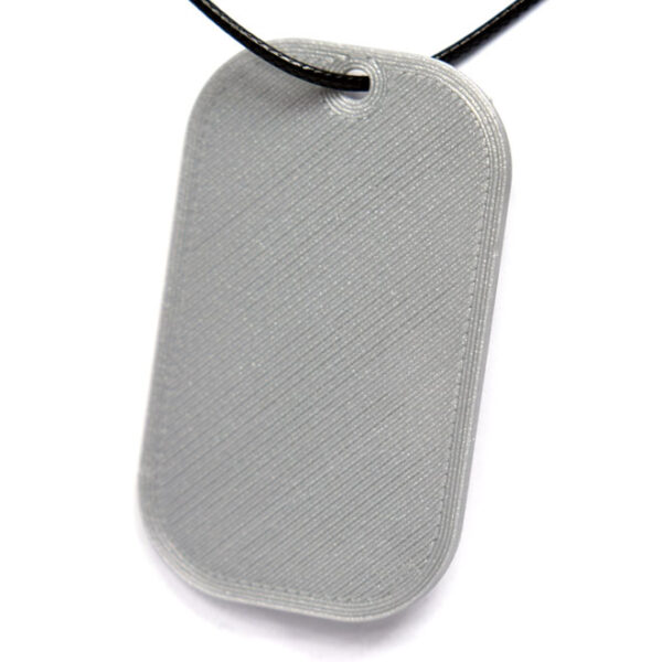 Never Stop Exploring Quote 3D Printed Neck Tag Grey PLA Plastic & Black Synthetic Cord