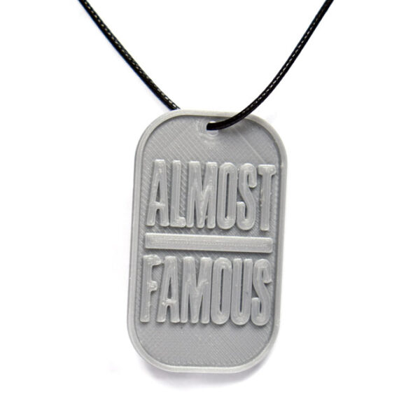 Almost Famous 3D Printed Neck Tag Grey PLA Plastic & Black Synthetic Cord