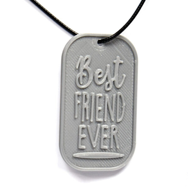 Best Friend Ever 3D Printed Neck Tag Grey PLA Plastic & Black Synthetic Cord