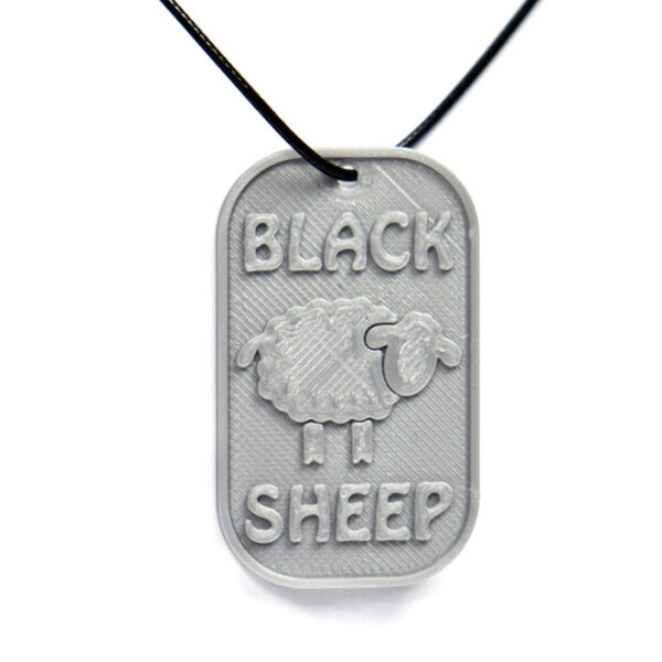 Black Sheep 3D Printed Neck Tag Grey PLA Plastic & Black Synthetic Cord