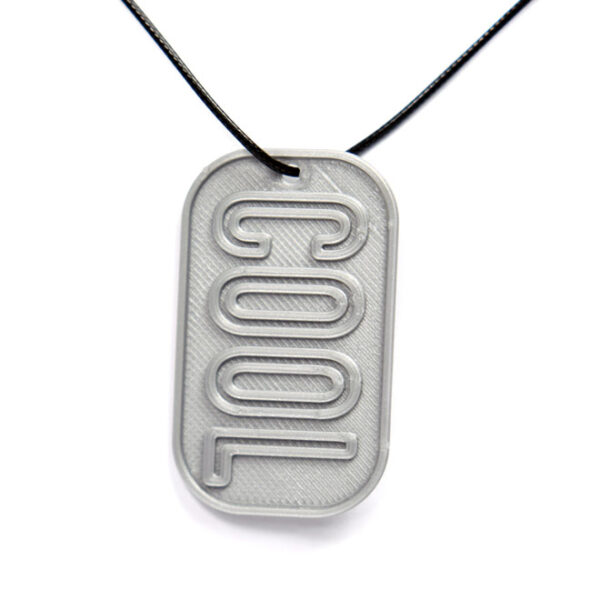 Cool 3D Printed Neck Tag Grey PLA Plastic & Black Synthetic Cord