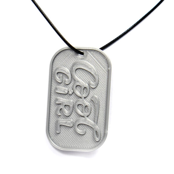 Cool Girl 3D Printed Neck Tag Grey PLA Plastic & Black Synthetic Cord