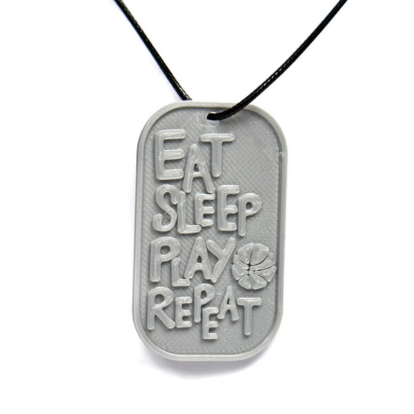 Eat Sleep Play Basketball Repeat 3D Printed Neck Tag Grey PLA Plastic & Black Synthetic Cord