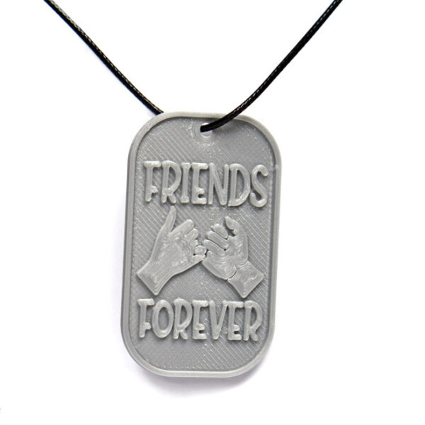 Friends Forever 3D Printed Neck Tag Grey PLA Plastic & Black Synthetic Cord
