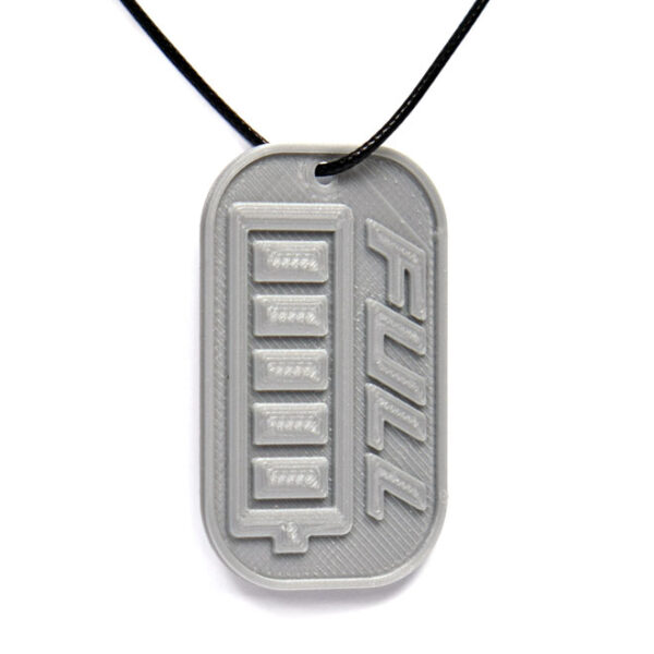 Full Energy Battery Icon 3D Printed Neck Tag Grey PLA Plastic & Black Synthetic Cord