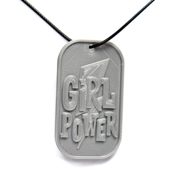 Girl Power 3D Printed Neck Tag Grey PLA Plastic & Black Synthetic Cord