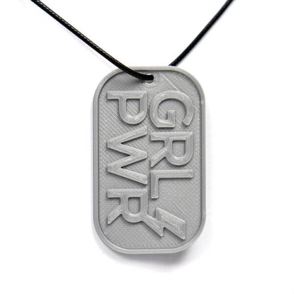 GRL PWR Girl Power 3D Printed Neck Tag Grey PLA Plastic & Black Synthetic Cord