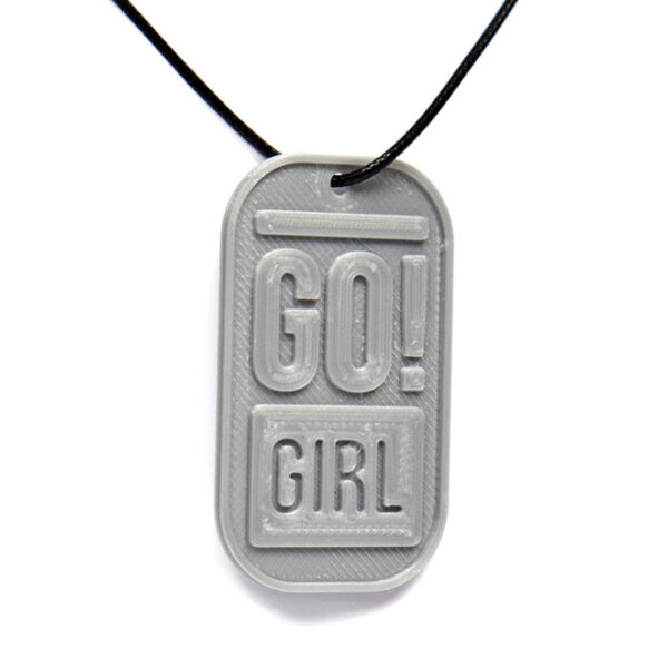 Go! Girl 3D Printed Neck Tag Grey PLA Plastic & Black Synthetic Cord