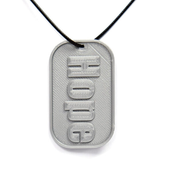 Hope 3D Printed Neck Tag Grey PLA Plastic & Black Synthetic Cord