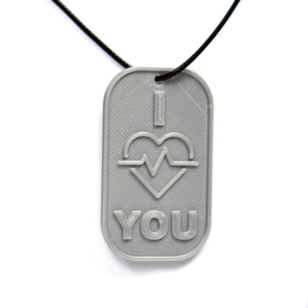 I Love You Heart 3D Printed Neck Tag Grey PLA Plastic & Black Synthetic Cord
