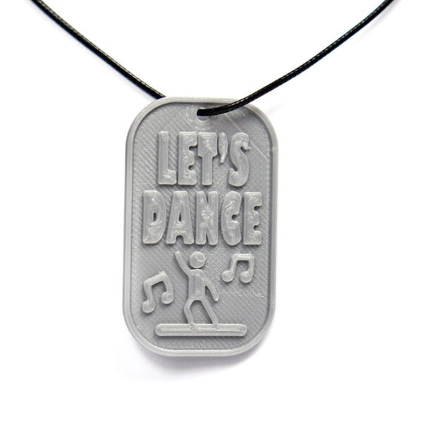 Let's Dance 3D Printed Neck Tag Grey PLA Plastic & Black Synthetic Cord