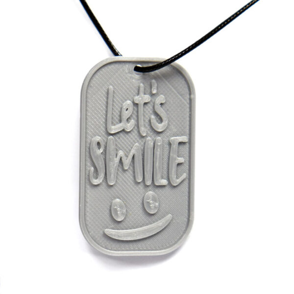 Let's Smile 3D Printed Neck Tag Grey PLA Plastic & Black Synthetic Cord