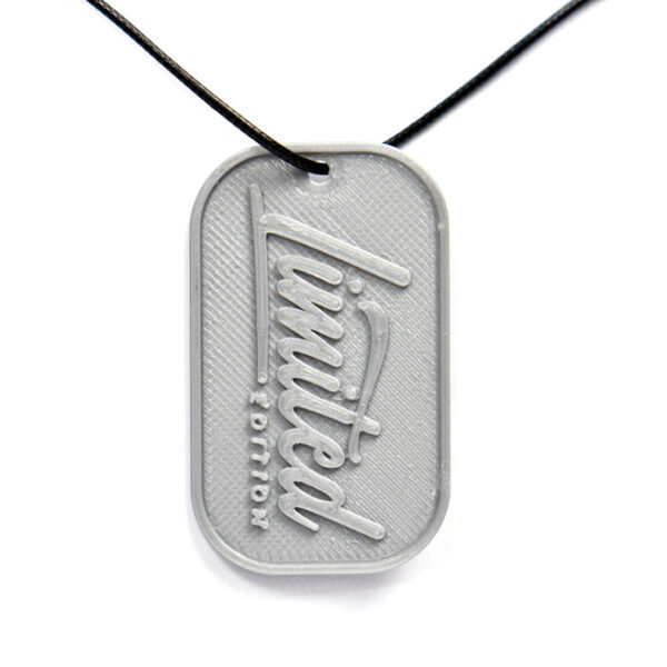 Limited Edition 3D Printed Neck Tag Grey PLA Plastic & Black Synthetic Cord