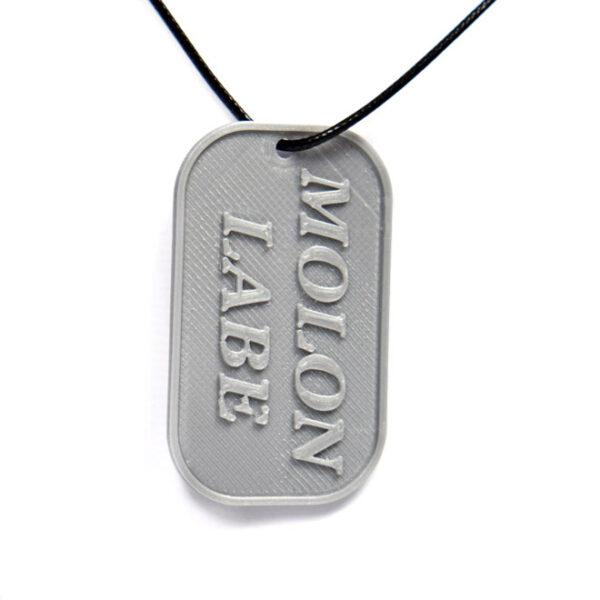 Molon Labe Greek Phrase Spartans Come And Take Them 3D Printed Neck Tag Grey PLA Plastic & Black Synthetic Cord