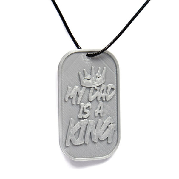 My Dad Is A King Crown 3D Printed Neck Tag Grey PLA Plastic & Black Synthetic Cord